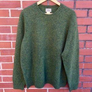 L.L. Been Olive Green Crewneck Sweater - Lg